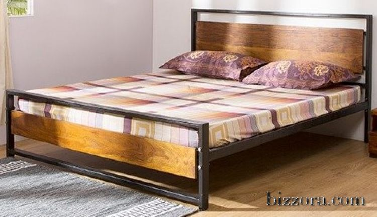 Metal Bed With Wooden Head Board Mattress On Rent In